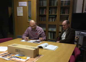 Museum Manager, Dai Price and Museum Curator Dr Mark Lewis in the Library of the National Roman Legion Museum.