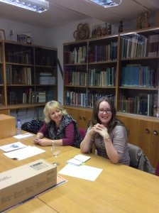 Kristine Chapman Principal Librarian and her assistant Jennifer Evans visit the library.